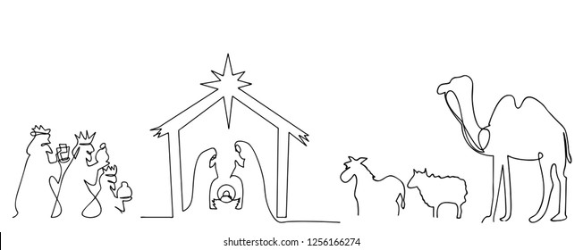 continuous line drawing of Nativity of Jesus Bible Merry christmas scene of holy family