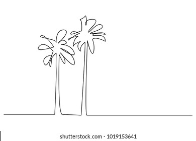 continuous line drawing of a natural coconut Vector Illustration