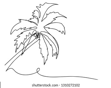 continuous line drawing coconut tree beach stock vector royalty Labeled Tree Diagram continuous line drawing of a natural coconut tree vector illustration