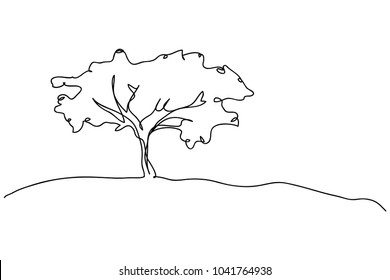 continuous line drawing of nature tree environmental vector illustration.