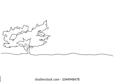 continuous line drawing of nature tree vector illustration