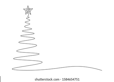 continuous line drawing of nature tree Christmas vector illustration