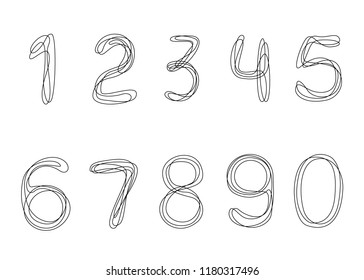 Continuous line drawing. Numbers from 0 to 9.