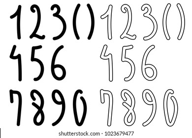 Continuous line drawing. Numbers. Handwritten digits for the phone number. Black isolated on white background. Hand drawn vector illustration.