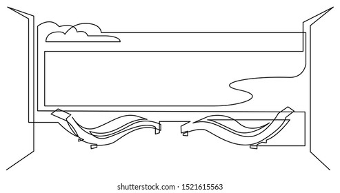 continuous line drawing of ocean view hotel patio with lounge chaises