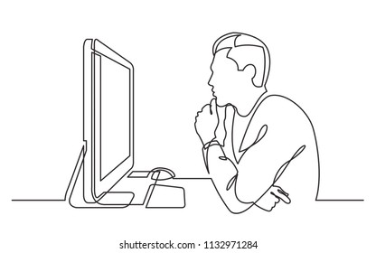 continuous line drawing of office worker concentrated behind computer