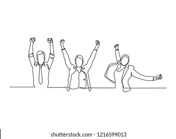 Continuous line, drawing of Office worker jumping happy