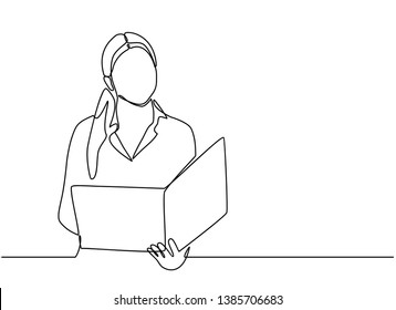 continuous line drawing of office workers standing at business meetings. female administrative manager making notes of information. vector illustration isolated on white background