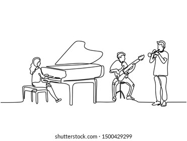 Continuous line drawing of orchestra music performance. Piano, guitar, and trumpet clarinet player. Musician artist concept single draw design vector illustration
