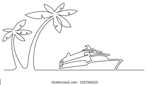 continuous line drawing of palm trees and cruise ship