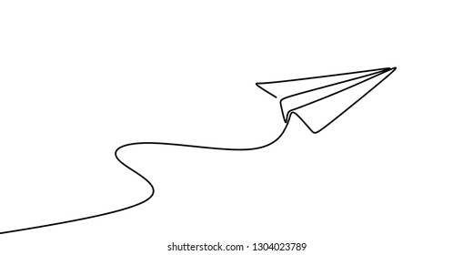 Continuous line drawing of paper plane vector illustration