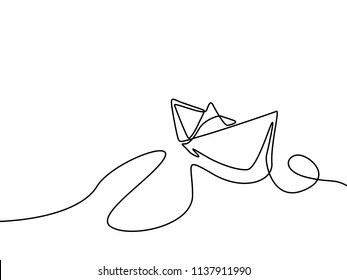Continuous line drawing Paper ship. Vector illustration.