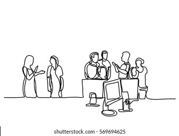 continuous line drawing of people