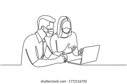Continuous line drawing of people with laptops use protective masks on their faces against infectious viruses. people work with laptops and wear masks to protect against the SARS-Covid-19 disease viru