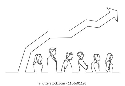 continuous line drawing of people standing in line with increasing graph