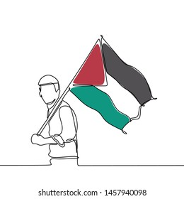 Continuous line drawing of person with Palestine flag country for jihad