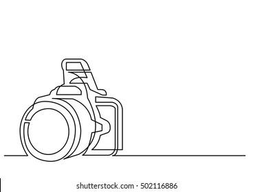 continuous line drawing of photo camera
