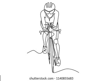 continuous line drawing of pictures athlete, cycling, fitness, health concept.