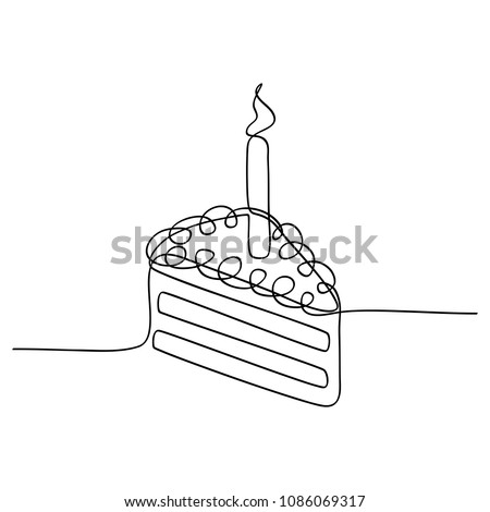 Continuous Line Drawing Piece Birthday Cake Stock Vector Royalty