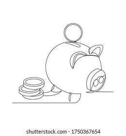 Continuous line drawing of piggy bank. one line art concept of business finance. Vector illustration
