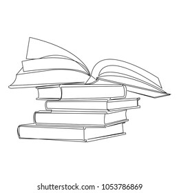 continuous line drawing of a pile of books vector illustration of a pile of books