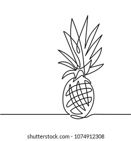 Continuous Line Drawing of Pineapple Concept of Fruit Vector Illustration