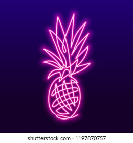 Continuous line drawing of pineapple concept of fruit vector illustration. Vector neon sign, bright signboard, light banner