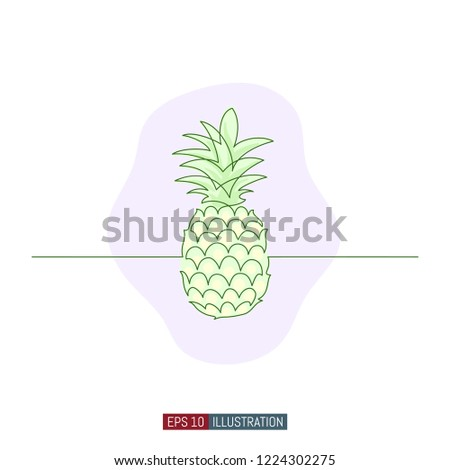 Pineapple Template   Continuous Line Drawing Pineapple Template Your Stock Vector