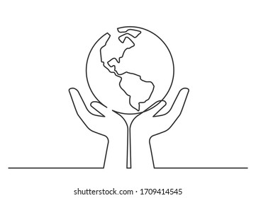 Continuous line drawing of planet in hands. Globe between two  human hands meaning care and love.  Vector illustration
