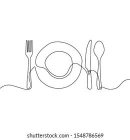 Continuous line drawing of plate, knife, and fork. Minimalism hand drawn one lineart minimalist vector illustration on white background. Dinner theme with creative symbol. EPS 10