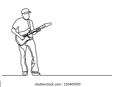 continuous line drawing of playing guitarist
