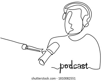 Continuous line drawing podcast man. Young male as a presenter or guest podcast speaks into a microphone. A guy sits in headphones in podcast or broadcasts. Vector illustration minimalist design