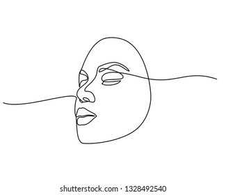 Continuous line drawing of Portrait of a Beautiful Woman's face. The Concept of Skin Beauty Care for young female models. Fashion beauty model with a white background. Vector