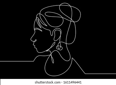 Continuous line drawing of Portrait of a Beautiful Woman's face.