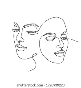 Continuous line drawing of Portrait of a Beautiful Woman's set faces. The Concept of Skin Beauty Care for young female models. Fashion beauty model with a white background