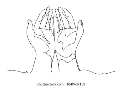 continuous line drawing of prayer hand, linear style and Hand drawn Vector illustrations, character design collection outline , cartoon doodle style.