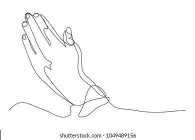 continuous line drawing of prayer hand