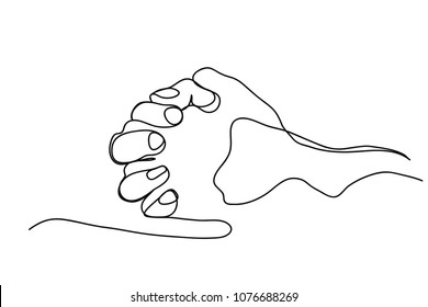 continuous line drawing of prayer hand, linear style and Hand drawn Vector illustrations