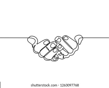 continuous line drawing of prayer hand. Hands palms together. Vector illustrations.
