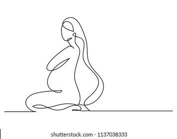 continuous line drawing of pregnant woman vector illustration