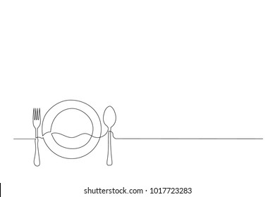 Continuous line drawing. Preparing for dinner. plate, fork and spoon. Drawing by hand on a sign or business cards in a cafe. Lines black on white background.