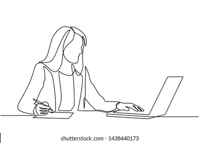 continuous line drawing of professional young business woman using mobile digital tablet computer work and writing work plan on personal notebook isolated on white background
