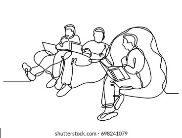 continuous line drawing of programmers with laptops sitting on bean bags