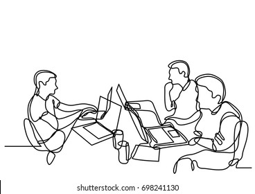 continuous line drawing of programmers with laptops working
