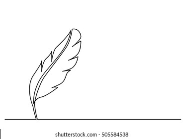 continuous line drawing of quill