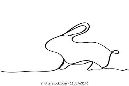 continuous line drawing of rabbit  vector eps.10