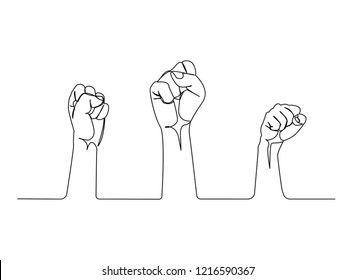 Continuous line, drawing of Raised Fist