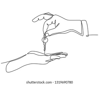 continuous line drawing of Real estate agent giving keys to apartment owner, buying selling property business. Close up of (male or women) hand taking house key from realtor.