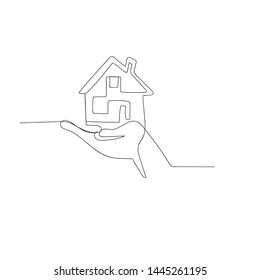 continuous line drawing of real estate. isolated sketch drawing of real estate line concept. outline thin stroke vector illustration