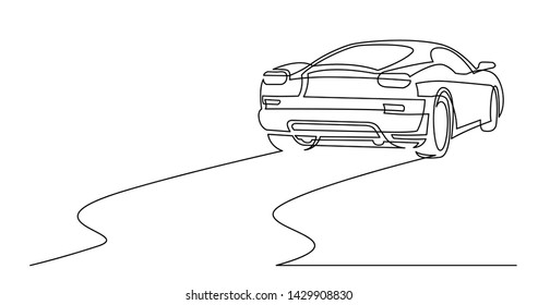 continuous line drawing of rear view of sport car
